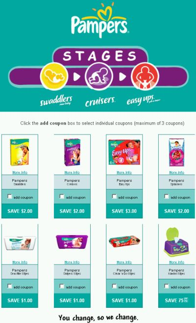 Pampers coupons printable