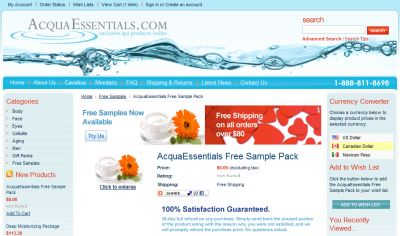 AcquaEssentials Free Sample Pack of Beauty Products