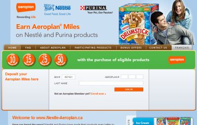 Nestle Aeroplan Earn Aeroplan Miles with Nestle and Purina Products - Canada