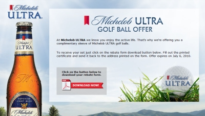 Michelob Ultra Beer Free Sleeve of Golf Balls – Exp  July 6, 2010
