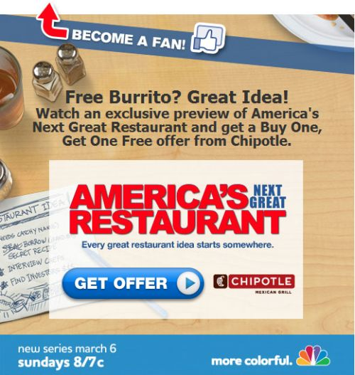 graphic regarding Chipotle Coupons Printable named NBC Americas Following Excellent Cafe Cost-free Obtain 1 Attain 1