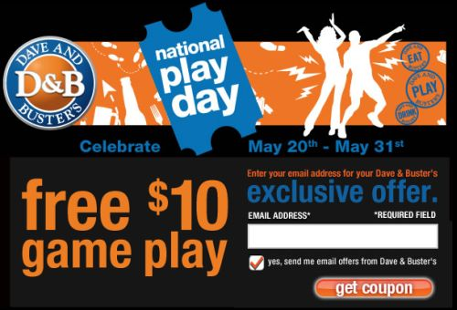 dave buster s free 10 in game play coupon for national. Black Bedroom Furniture Sets. Home Design Ideas