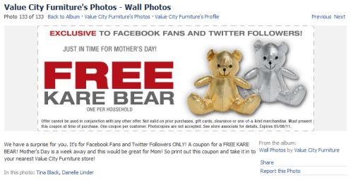 Value City Furniture Free Printable Coupon For A Free Kare Bear Via Facebook