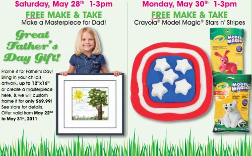 A c moore arts crafts listing of free make and take for Ac moore craft classes