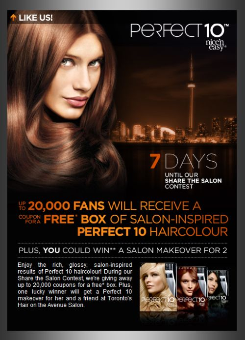 Clairol canada perfect 10 free box of salon inspired for A perfect ten salon