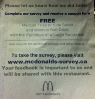 McDonald's Survey Prizes & Rewards | mcdvoice free sandwich & Food Your opinion, suggestion, and feedback mean a lot to McDonald's, they give you free food and much more prizes as a reward. You can get free sandwiches, one free Quarter Pounder with cheese or Egg McMuffin, Special Mcdonald's meal or any other food.