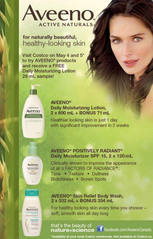 Free Daily Moisturizing Lotion 28mL Sample of Aveeno Active Naturals at Costco Canada – May 4 and 5, 2012, Canada