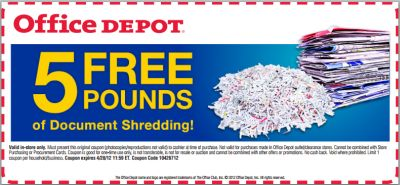 Printable Coupon for 5 Free Pounds of Document Shredding at Office Depot - Exp. Apr. 28, 2012