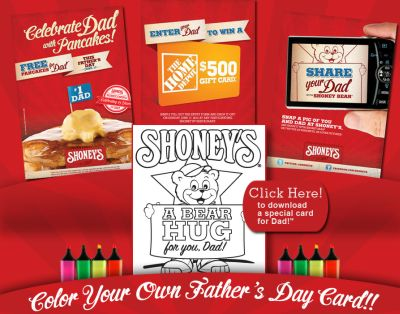 Free Pancakes for Dads at Shoney's on Father's Day, June 17, 2012 and Enter to Win a $500 The Home Depot Gift Card