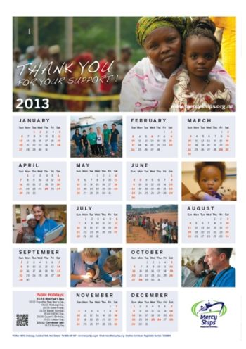 Mercy Ships Free 2013 Mercy Ships Calendar