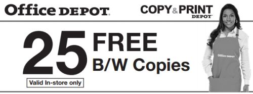 Office Depot Free Printable Coupon for 25 Free Black and White Photocopies in Store - Exp. April 16, 2013