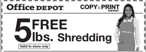 Office Depot Free Printable Coupon for Free 5 Pounds of Shredding - Exp. April 16, 2013
