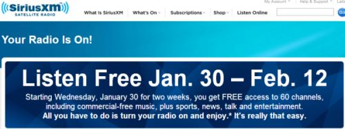Sirius XM Satellite Radio Listen for Free for Two Weeks: January 30 - February 12, 2013