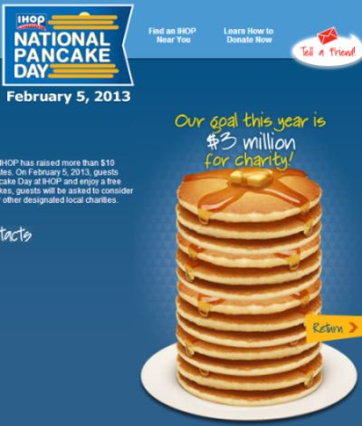 IHOP National Pancake Day on February 5, 2013 for Free Pan Cakes