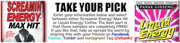Vital4U Free Screamin Energy Max Hit or Liquid Energy Coffee Sample - US