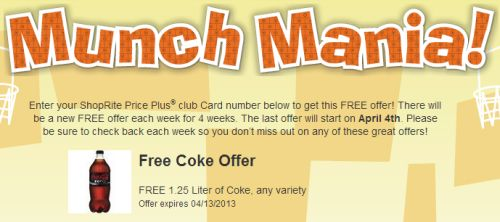 Shop-Rite Free Weekly Offers: Free Coke Offer - Exp. April 13, 2013