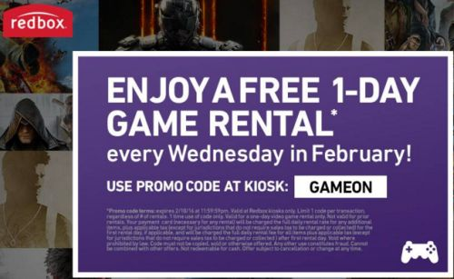 Redbox Free 1-Day Game Rental Every Wednesday in February 2016 – US